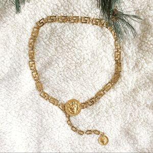Lion Medallion Brass Chain Link Waist Belt